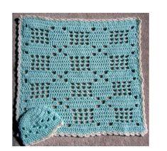 Little Baby Filet Hat and Blanket Set free crochet pattern