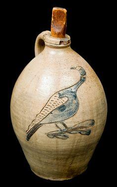 One-Gallon Stoneware Jug with Incised Bird Decoration, New York State origin, circa 1825