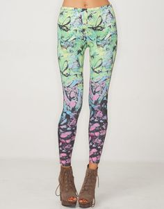 Motel Printed Legging in Tropical Butterfly Print
