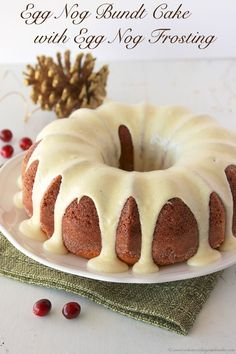 Egg Nog Bundt Cake with Egg Nog Frosting is melt-in-your-mouth amazing! by www.whatscookingwithruthie.com #recipes #dessert #holidays