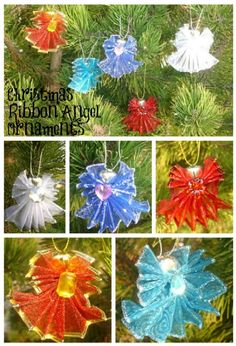 Ribbon angels. You need 2 1/2 inch wired ribbon, bells for the heads, and flat back embellishments. Love these!