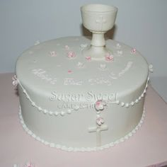 Sugar Sweet Cakes and Treats: 1st Communion Cake with Rosary and Chalice
