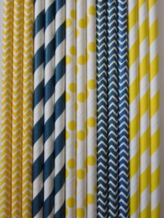 PAPER STRAWS 50 Navy Blue  Yellow Paper Straws Navy and Yellow Stripes Dots Chevron DiY Flags Wedding Kids Ladybug Birthday Baby Shower Bachelor Party $5.99