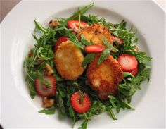 Strawberry Walnut Salad with Fried Goat Cheese