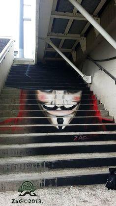 Artist : ZAG  Location : Recouvrance bridge / Pont de Recouvrance - BREST  « Vendetta »  #OpNov5th2013