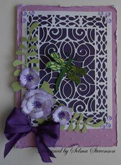 floral dragonfly card using cherry lane designs dies - selma's stamping corner