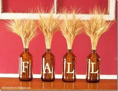 fall vases and wheat