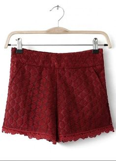 Wine Red Mid Waist Lace Embroidery Short