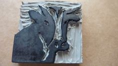 Cow stamp carved by clare mcilhatton