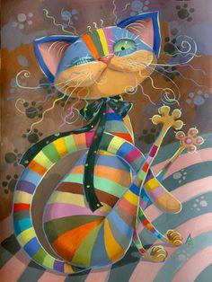 Cat of Colors © Люба Ерёмина crazy cats, cat art, color art, art paintings, catart, cat illustrations, cat paintings, illustration art, rainbow