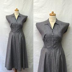 1950s Vintage Grey Glazed Cotton Dress / by DarkbloomVintage, $68.00