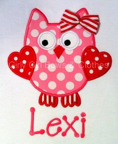 @Amy Casford  how cute is this!!!!! Personalized Valentine's  Who Loves You Owl by girlygirlbows4, $23.00