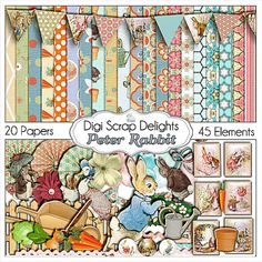 Peter Rabbit Digital Scrapbook Kit  Buy 2 by DigiScrapDelights, $5.00 Peter Rabbit Digital Scrapbook Kit /Digital Scrapbooking Kits for a digital scrapbook, commercial use, web site design, card making, photography backgrounds, crafts, and more.