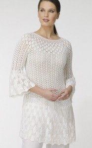 Белое ажурное платье спицами