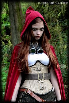 steampunk LRRH #steampunk #corset #hood #red #woman #women #fashion #costume #googles