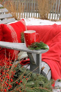 """Cozy Vignette...  LoVe the """"HoLiDay Reds"""" against the grey..."""