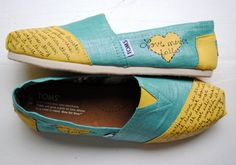 Womens Love Bible Verse Hand Painted TOMS, Metallic Teal and Yellow, 1 Corinthians 13