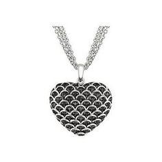 1/2 Carat Black Diamond Sterling Silver Heart Pendant w/ 3 Strand Chain - #Buycom