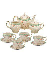 tea sets, green kitchen, blue kitchens, kitchen dining, vintage china