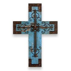 Blue Rustic Wooden Cross