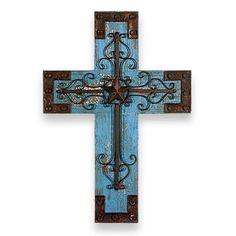 Blue Rustic Wooden Cross