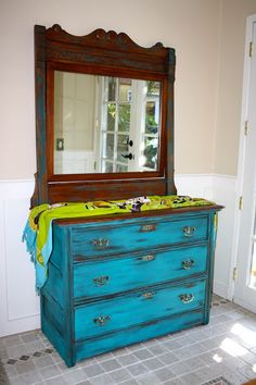 dresser painted with milk paint, cobalt blue (really turquoise) from the Real Milk Paint Co.