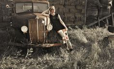 Rusty cars and beautiful women