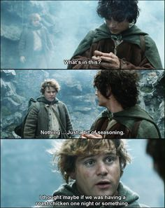 "Frodo- "" Roast chicken?! My dear Sam. This is special. It's a little piece of home."""