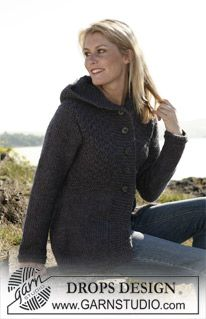 "Knitted DROPS jacket in ""Eskimo"". Size S-XXXL. ~ DROPS Design"