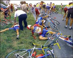 """A few riders of the Tour de France lay on the ground after a crash during the sixth stage between Le Blanc and Marennes, in July #1997.(PATRICK KOVARIK/AFP/Getty Images)"" #letour #TdF #cycling"