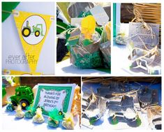 John Deere Tractor Farm Party: tractor cookie cutters + peat pot favor buckets