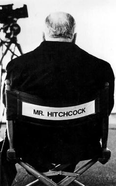 Mr. Alfred Hitchcock, black and white photo.