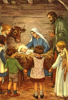 Children with Mary, Joseph, and Baby Jesus in the Manger