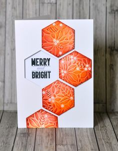 handmade card from Sizzix.co.uk - Blogs - Pete Hughes ... luv the large die cut hexagons with embossing folder texture, inking and tiny pearl embellishments ...