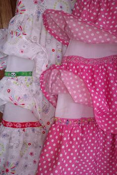 ribbons to cover the top of ruffles. Very clever!