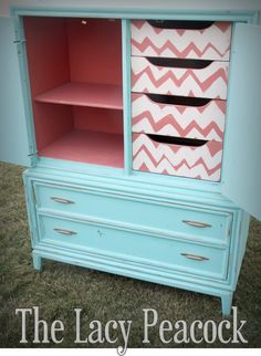 Turquoise Dresser Armoire with Coral Chevron by TheLacyPeacock