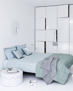 """spic and span 4  interior white """"spic and span"""" by bartbrussee.com, via Flickr color, cozy bedroom, blue bedrooms, blue white, white bedrooms, blog, baby blues, pastel decor, bedroom interiors"""