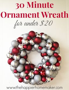 can't believe this is under $20 and takes less than 30 minutes!!  How to Make an {Easy} DIY Ornament Wreath nap time, holiday, diy christmas wreaths, diy crafts, diy ornaments, ornament wreath, easy christmas wreaths diy, christmas diy wreaths, 30 minut