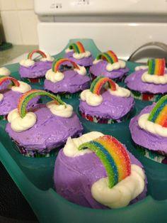 carebear, rainbow cupcakes