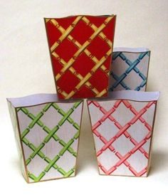 """Details matter!  Add a pretty bamboo trellis wastebasket to polish up your powder room or any room!  We love the red one in the study.Choose from pink on white, green on white, powder blue on or gold on red. 12"""" high, gold trim."""