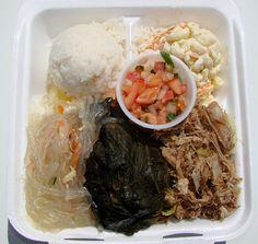 Hawaiian food <3 mac salad, foods, hawaiian food, lunches, long rice, hawaiian style, macaroni, plate lunch, hawaiian plate