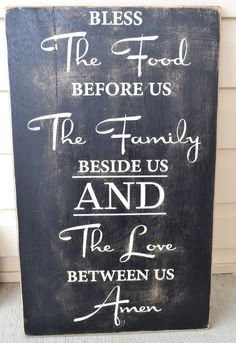 dining room signs, custom prayer signs, family signs, black and ivory signs, rustic wall signs, home decor, housewarming gifts. $45.00, via Etsy.