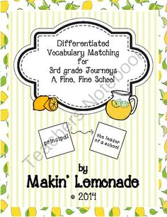 3rd Grade Journeys Fine, Fine School Differentiated Vocabulary Match Game from Makin' Lemonade on TeachersNotebook.com -  (15 pages)  - 3rd Grade Journeys Fine, Fine School Differentiated Vocabulary Match Game