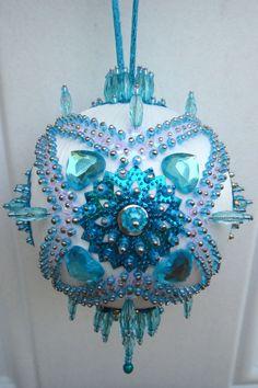 Satin beaded Christmas ornament kit - Turquoise Garden. $14.99, via Etsy.