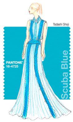 Tadashi Shoji in Pantone Scuba Blue - SPRING 2015 PANTONE's #FashionColorReport @tadashishoji