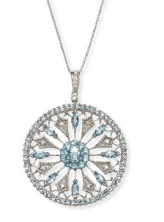 Diamond and #Aquamarine Necklace and Pendant in 14k White Gold