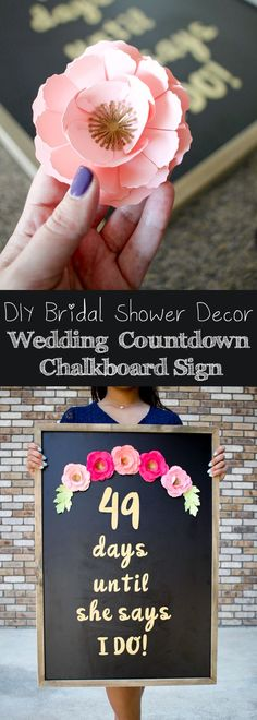 "DIY Bridal Shower Decor with Cricut - Wedding Day Countdown Chalkboard Sign Cricut?? <a class=""pintag searchlink"" data-query=""%23mycricutstory"" data-type=""hashtag"" href=""/search/?q=%23mycricutstory&rs=hashtag"" rel=""nofollow"" title=""#mycricutstory search Pinterest"">#mycricutstory</a>"