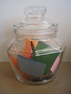 storytelling jar, note cards have story prompts