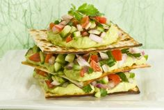 Spice up Passover with this Mexican Matzo Tower. #avocado #Passover #Pesach