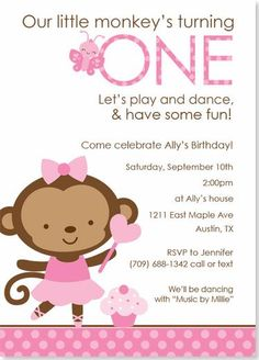 Birthday Party Invitations - Ballerina Monkey Party Invitation